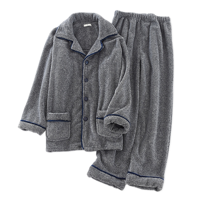 New High Quality Thicken Flannel Male Pajamas Sets Winter Keep Warm Long Sleeve Mens Sleepwear Fashion Pyjamas Men Plus Size