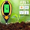 Цифровой измеритель PH почвы 4 в 1, анализатор влажности, температуры и солнечного света, для садовых растений и сельского хозяйства с подсвет...