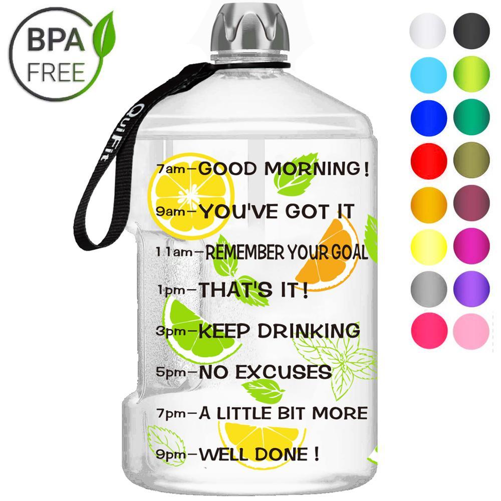 Quifit 128oz 73oz 43oz 1 Gallon BPA Free Plastic Big Drink Water Bottle Jug Gourd For Travel Sports Fitness GYM Waterbottle EcoWater Bottles   -