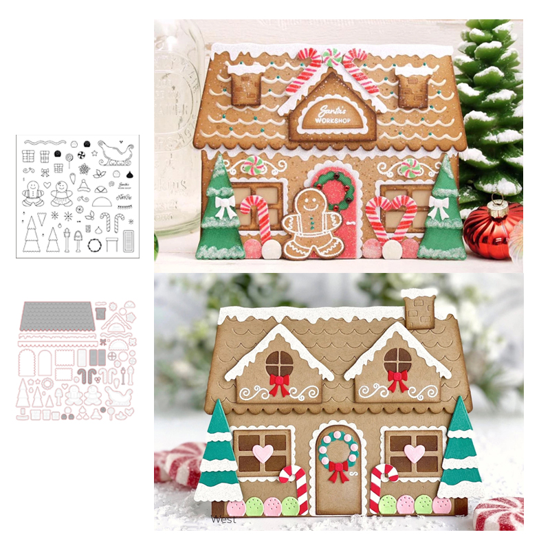LLove CCraft Gingerbread House Metal Cutting Dies And Stamp For DIY Scrapbook Paper Craft Knife Mould Blade Punch Stencils Dies