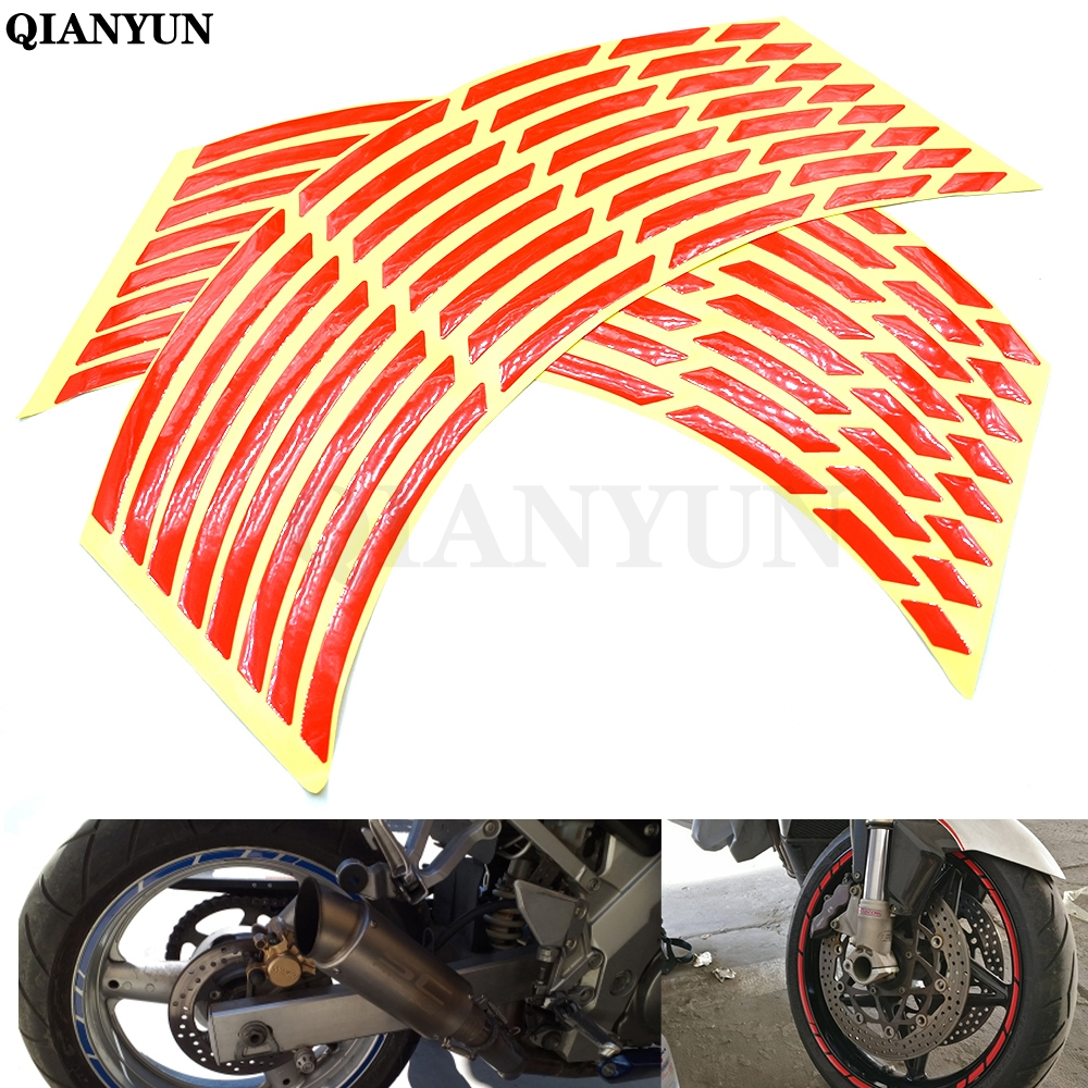 Universal car motorcycle tire sticker reflective strip tape decal For <font><b>Suzuki</b></font> Hayabusa GSX1300R SV1000 SV1000S <font><b>TL1000R</b></font> GSX1400 image