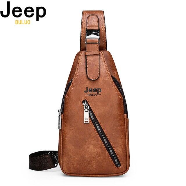 JEEP BULUO seyahat yürüyüş çapraz vücut postacı çantası erkek büyük kapasiteli göğüs tek kollu çanta katı erkekler bölünmüş deri çanta yeni