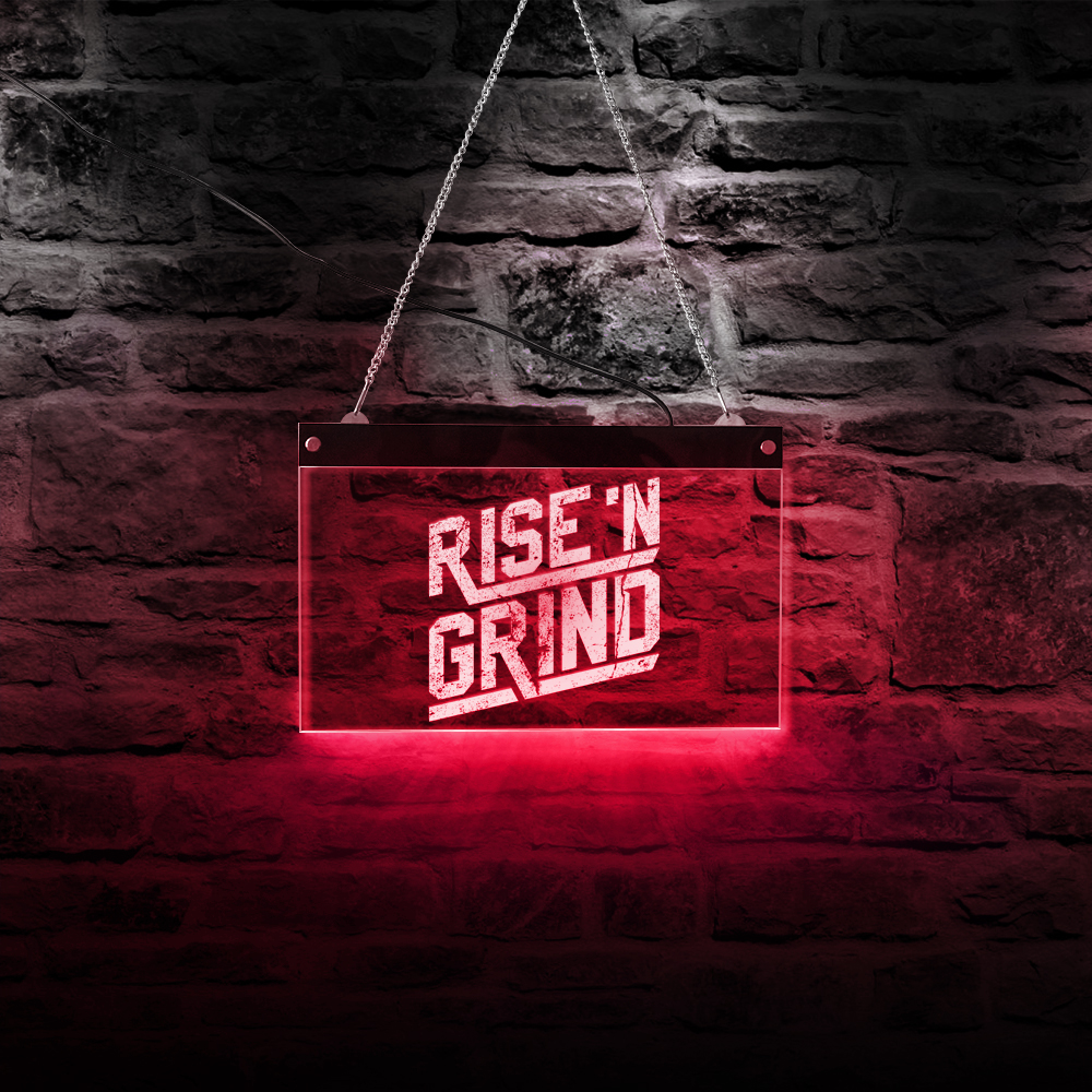 Rise and Grind Fitness GYM Coffee Bar Light Custom LED Neon Sign Lighting Lamp Wall Art Night Lamp In the Dark