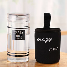 Glass Water Bottle with Protective Bag Outdoor Bike Bottles High Quality Sports Travel Portable Heat Proof Drink Teapot 350ml