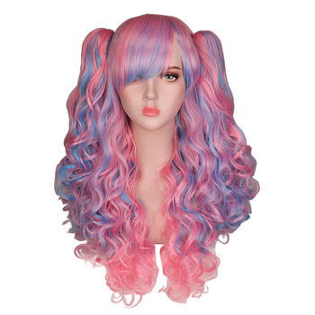 QQXCAIW Long Wavy Cosplay Wig Purple pink Ombre Black White Heat Resistant Synthetic Hair Wigs With two ponytails cosplay synthetic long fluffy purple gradient side bang wavy wig