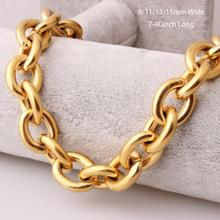 Customized Size 8/11/13/15mm Fashion Gold Tone Womens Mens Stainless Steel Rolo Oval Link Chains Necklaces or Bracelet 8-40