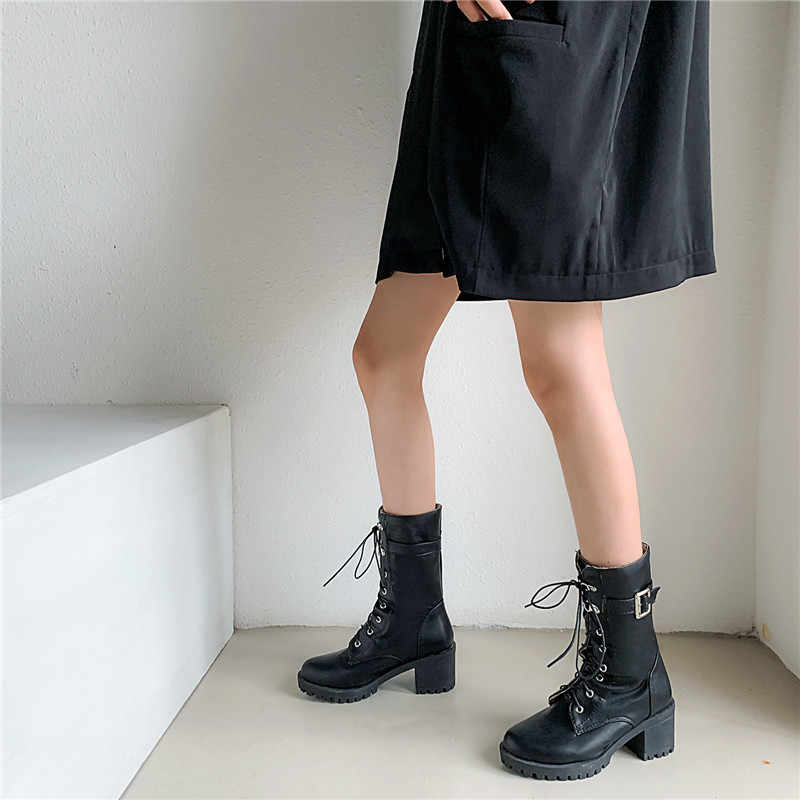 YMECHIC Lace Up Womens Boots Buckle