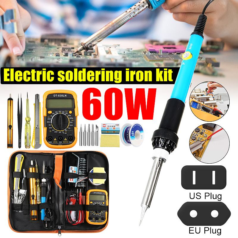 Temperature Electric Soldering Iron Kit 110V 220V 60W Soldering Iron kit Digital Multimeter Desoldering Pump Welding Tool Tester
