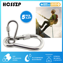 5 pcs 316 Stainless steel Carabiner Hooks with Screw Hammock Locking Solid Metal Clips for Outdoor Camping Hiking Traveling