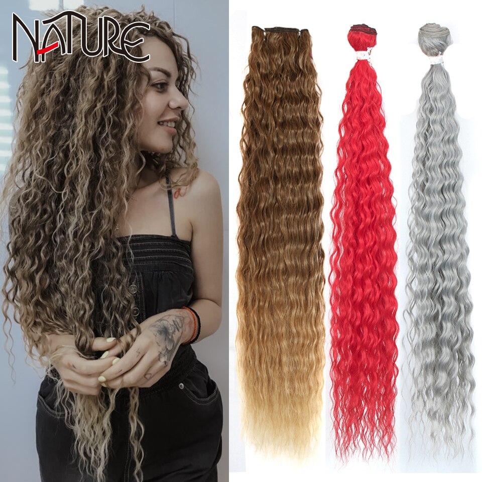 Натуральные свободные волнистые волосы, пряди 28-32 дюйма, высокотемпературное волокно, красные супер длинные волосы, Синтетические переплет...
