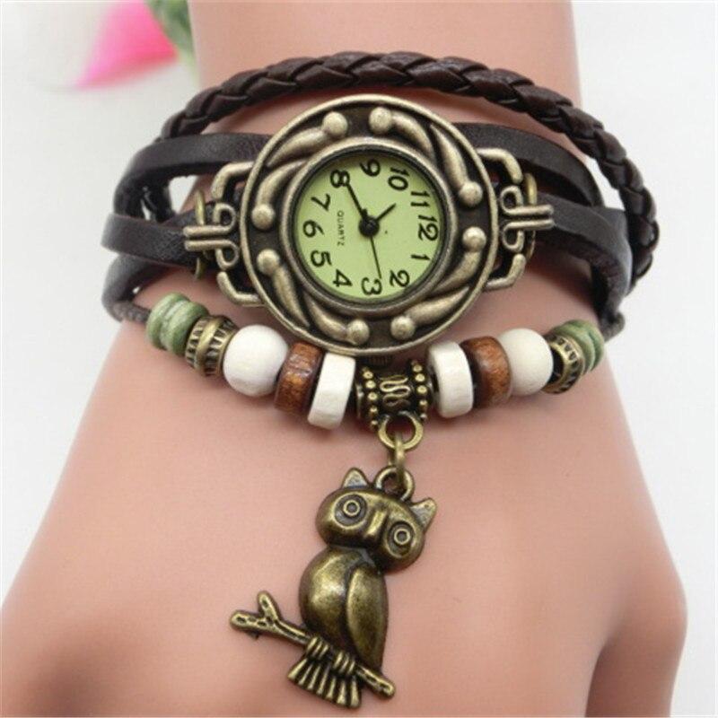 Женские винтажные наручные часы с браслетом, дамские наручные часы с подвеской в виде совы и кожаным браслетом, женские наручные часы, подар...