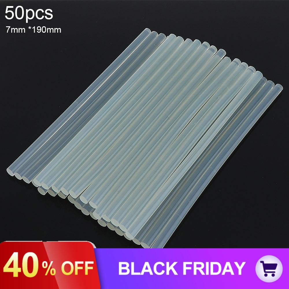 50pcs/lot Transparent Hot Melt Gun Glue Sticks Gun Adhesive DIY Tools For Hot-melt Glue Gun Repair Accessories 7mmx190mm