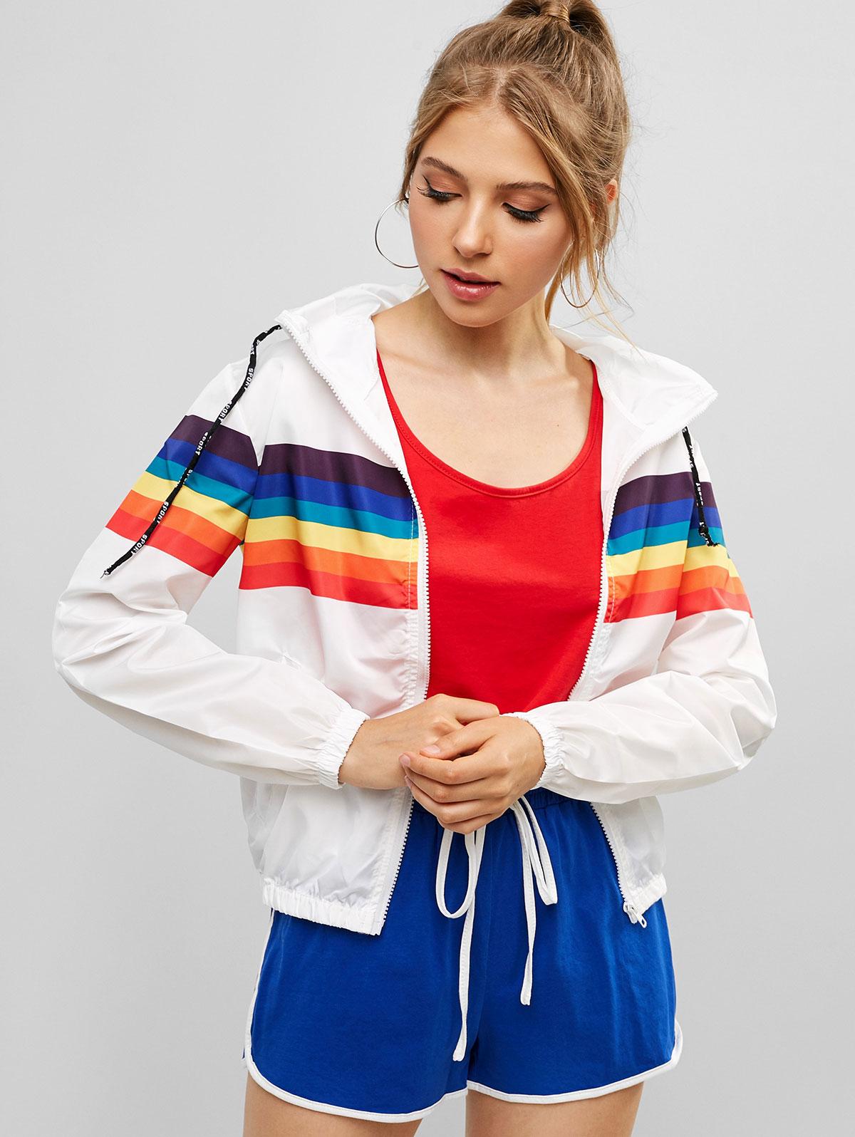 ZAFUL Spring Autumn Sweatshirt Windbreaker   Jacket   Women Rainbow Zipper Pockets Hooded Coats Casual Long Sleeves   Basic     Jackets