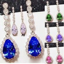 YaYI Jewelry Fashion Princess Cut 8.9 CT  Colorful Zircon Silver Color long Ear Earrings wedding Party tassel Gifts