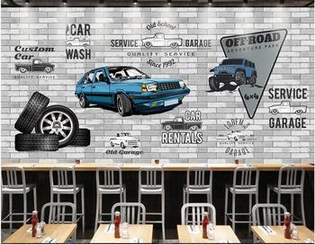 Mural personalizado 3d mural de pared en la pared mano PINTADO DE AZUL taller de reparación de automóviles pared de ladrillo hogar foto de decoración papel tapiz para paredes 3 d
