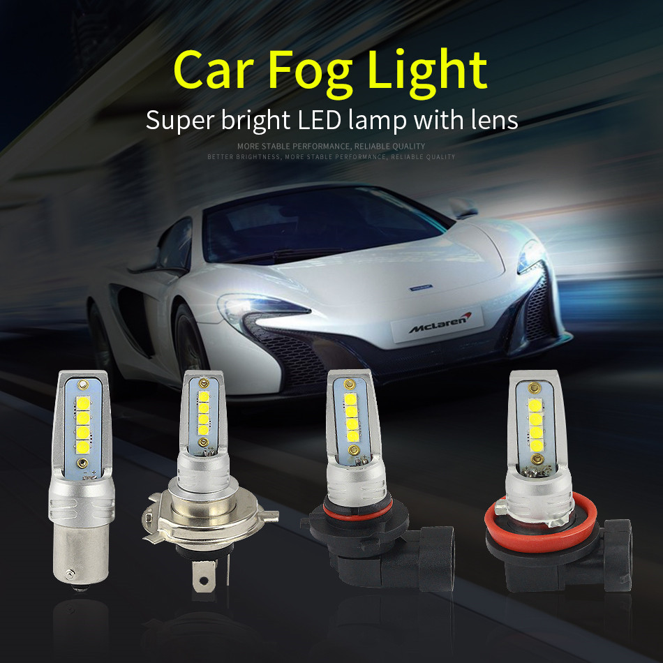 2PCs Car <font><b>LED</b></font> Fog Lights H4 H7 <font><b>H8</b></font> H11 9005 9006 Socket <font><b>CREE</b></font> 8SMD 80W Car <font><b>LED</b></font> highlight fog Lamp Bulbs Headlight 6500K 800LM 12V image