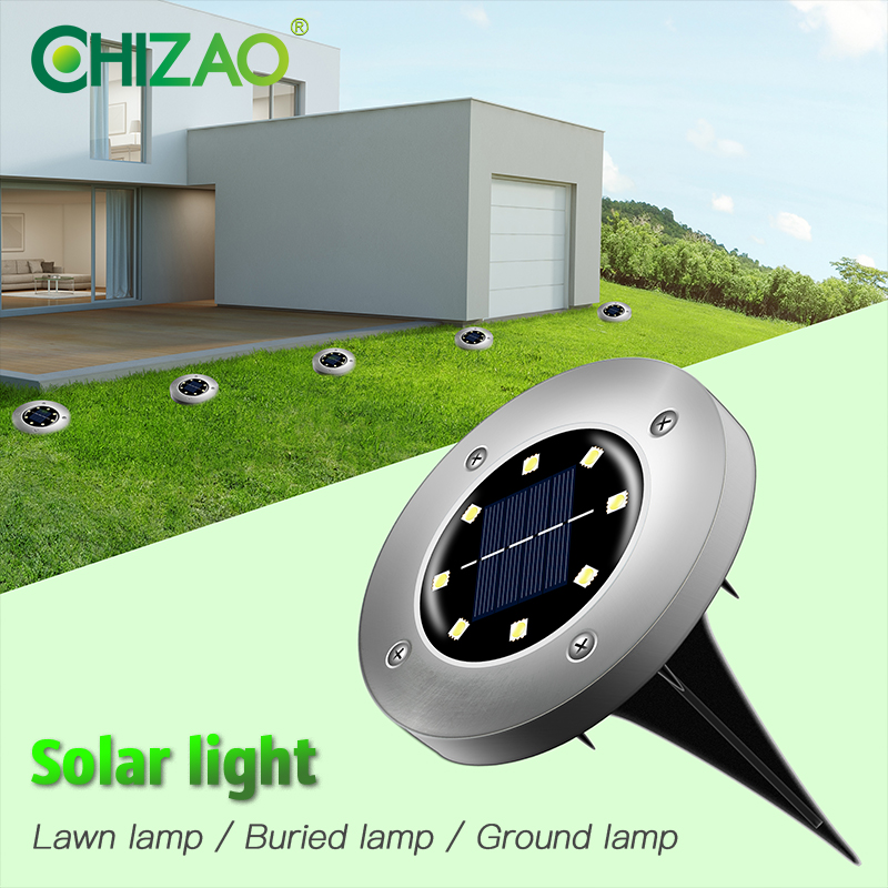 CHIZAO Lawn Light Outdoor Garden Decoration Lights Solar Landscape Lamps IP65 Waterproof Safety Indicator Lamp Easy Installation