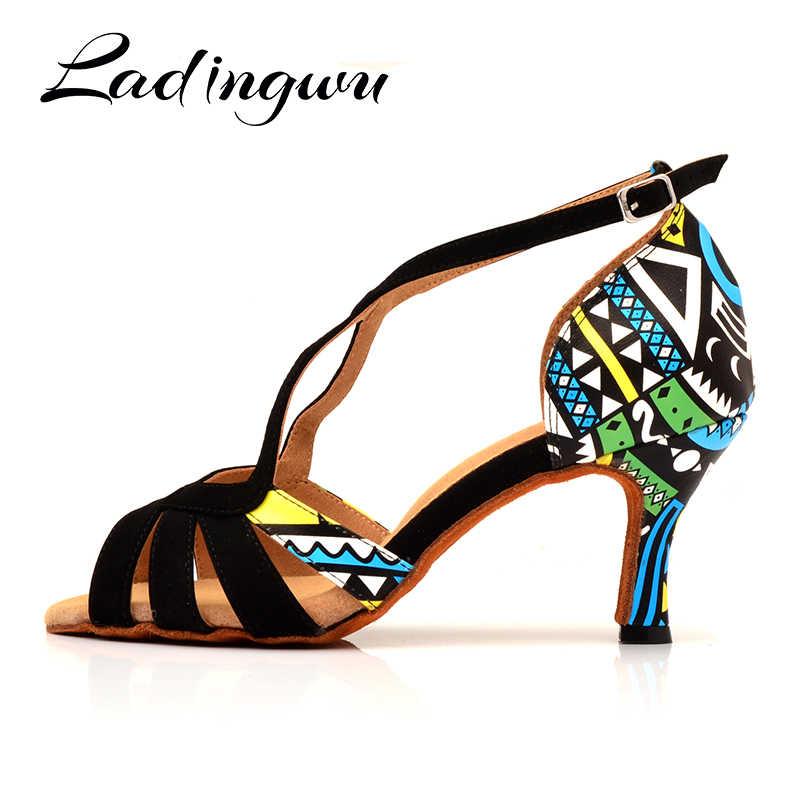 Ladingwu gorąca buty do tańca dla kobiet buty do tańca towarzyskiego latynoamerykańskiego Ladys dziewczyny Salsa buty do tańca zamszowe i funkcjonalny drukowane skóra na obcasie