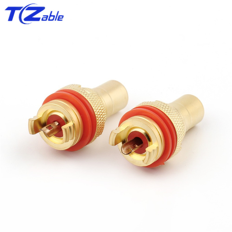 Image 5 - RCA Plug Connector Female Socket Chassis CMC Connectors Bright/Dumb Plated Copper Jack 32mm HiFi White Red Audio JacksPlug & Connectors   -