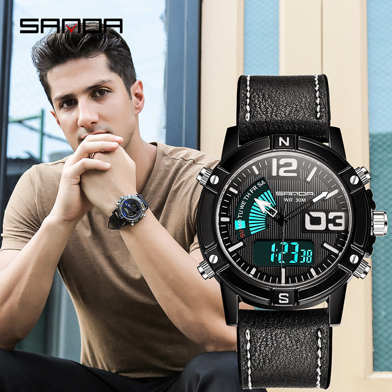 Digital Watch Calendar-Display Electronic-Clock Outdoor Waterproof Men Stylish Sport