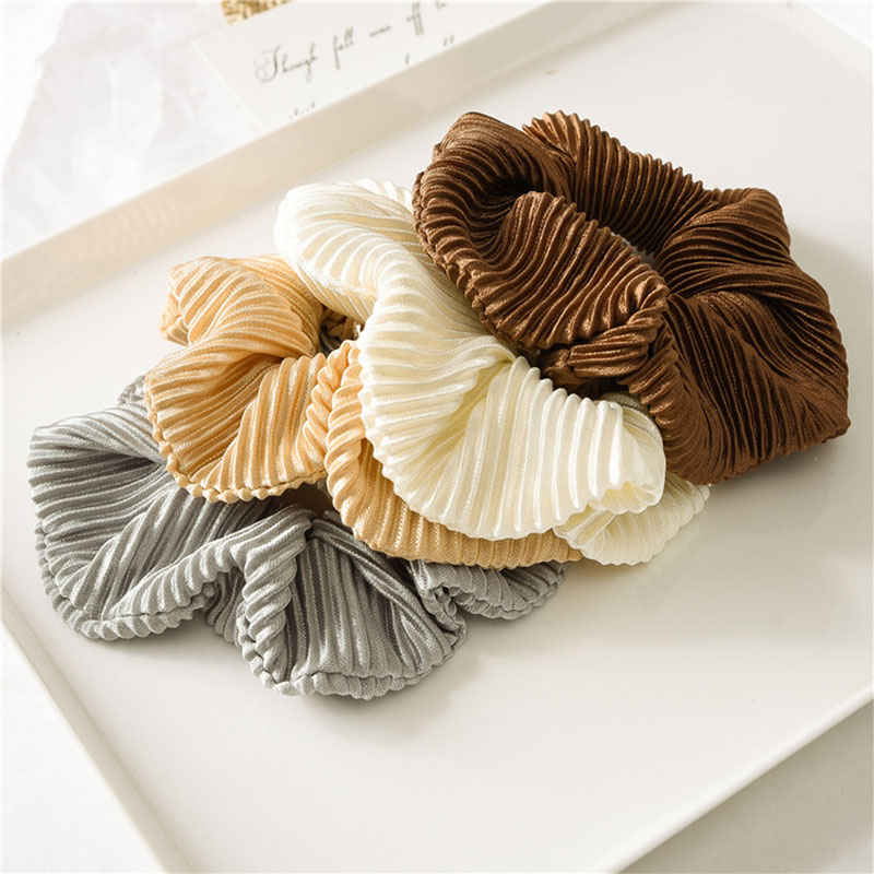 Stylish Crinkle Satin Hair Scrunchie Elastic Hair Tie Ponytail Holder Solid Color For Women Girls Hair Accessories