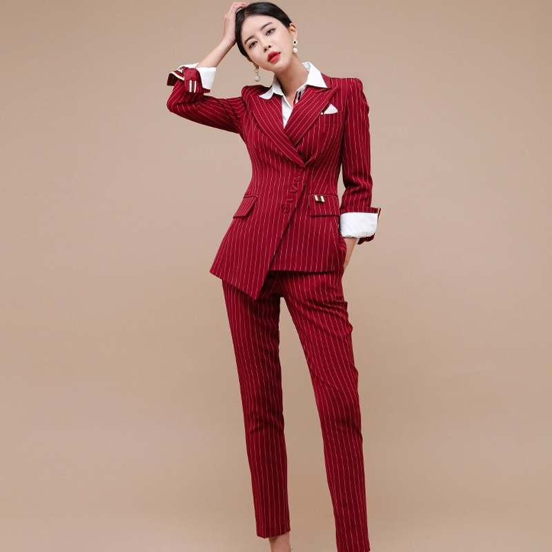Business Women 2 Piece Pant Set Autumn Winter Single-breasted   Striped Blazers Coat + Office OL Ladies Pencil Trousers Suit