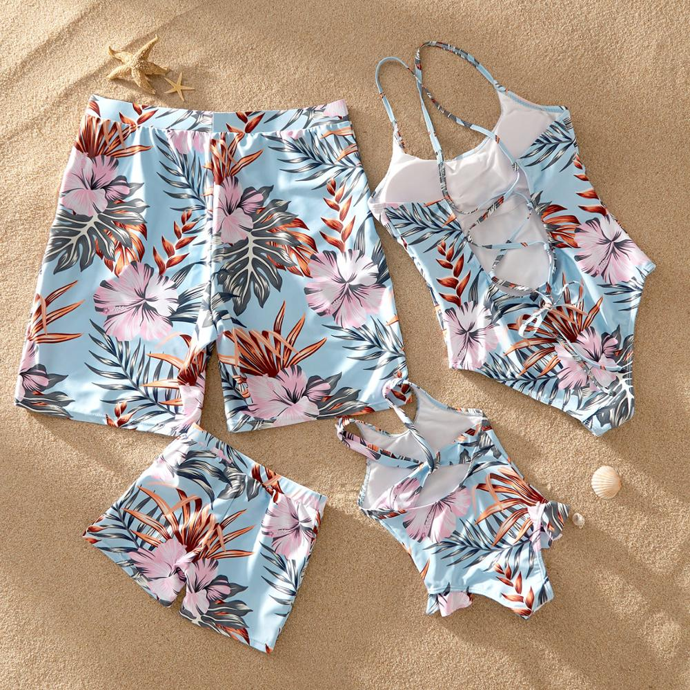 PatPat 2020 New Summer Floral Print Matching Light Blue Family Swimsuits Swimwear Family Look