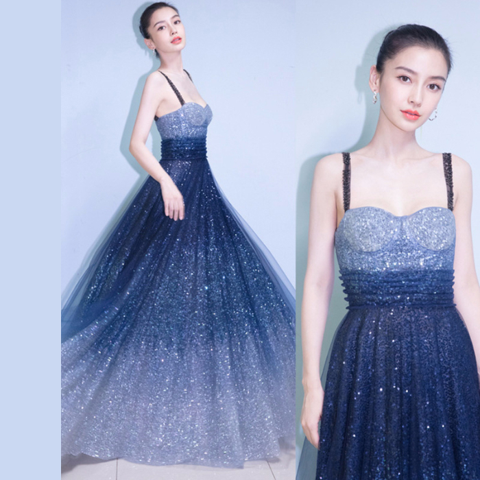 CHUNLI Large size 2019 Starry gradient sequins annual meeting banquet party dress long dress