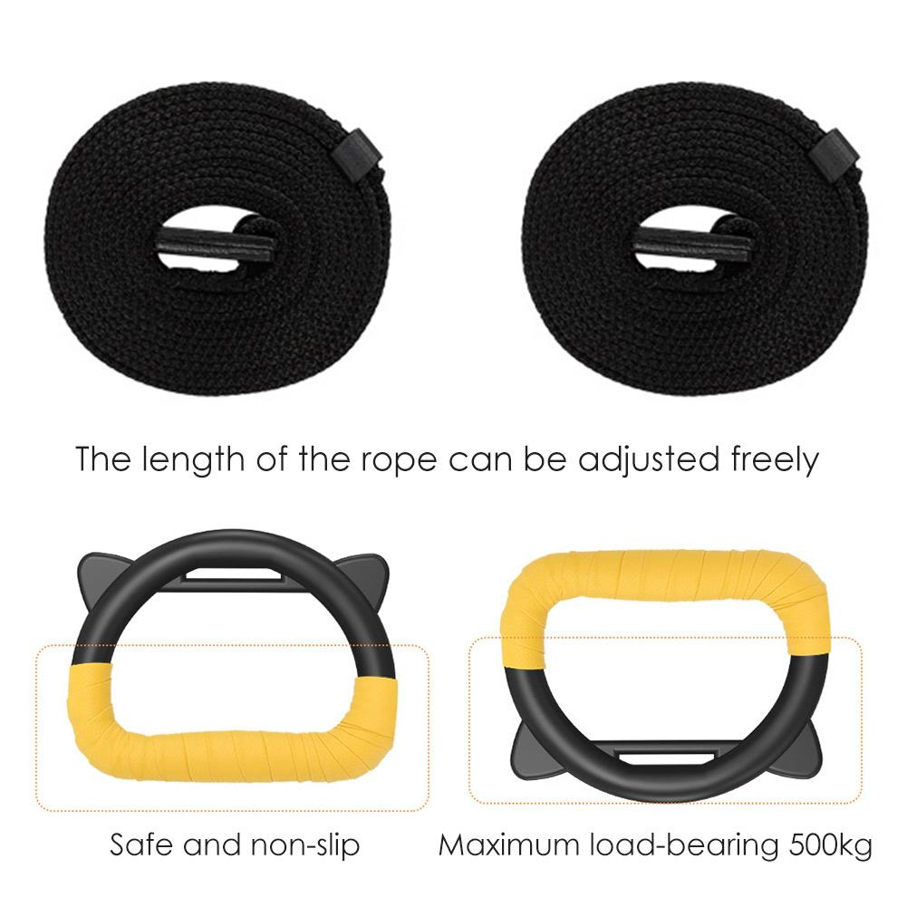 Kids Gymnastic Rings Plastic with Adjustable Straps Gym Pull up Fitness Exercise Equipment of Children for
