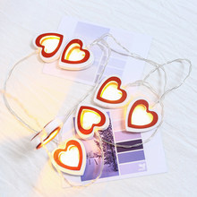 LED double-sided wooden love decorative warmwhite lights string Christmas Day creative house