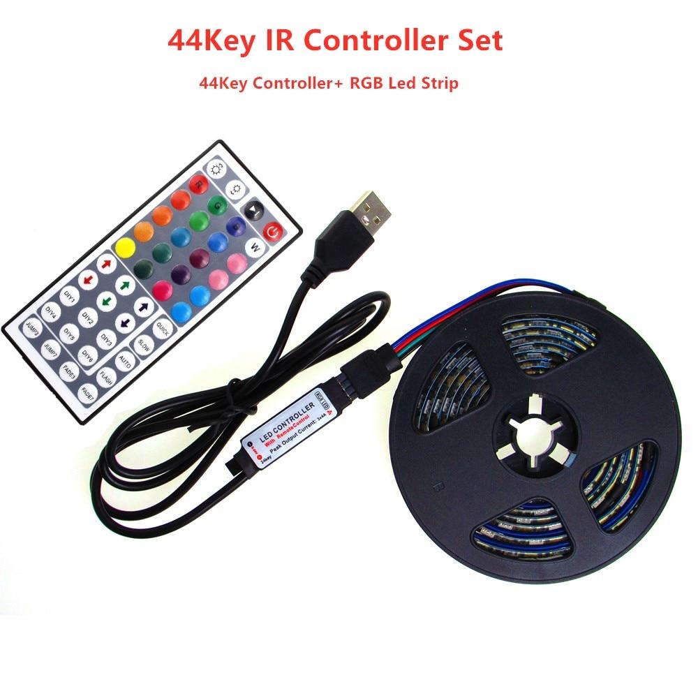 Neon USB LED Band Streifen Licht RGB 5 V PC SMD 5050 LedStrip 5 V RGB Led Streifen 5 V volt Band Lampe TV Hintergrundbeleuchtung Mit 44Key Controler