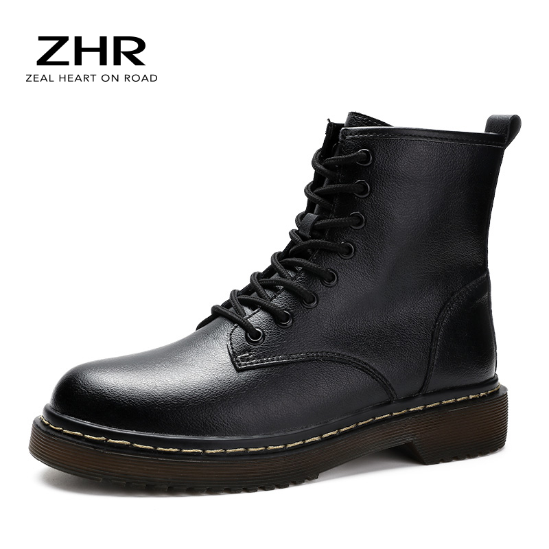 2020 Genuine Leather Doc Martens Boots Women Ankle Boots Platform 8 Eye British Wind Thick Short Ladies Boots Combat Motorcycle|Ankle Boots|   - AliExpress