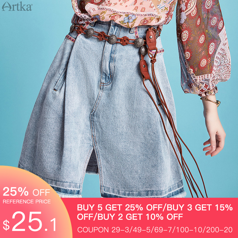 ARTKA 2020 Spring Summer New Women Skirt Vintage Indie Folk A-line Denim Skirt Fashion Loose Split Skirts Women QN20002C