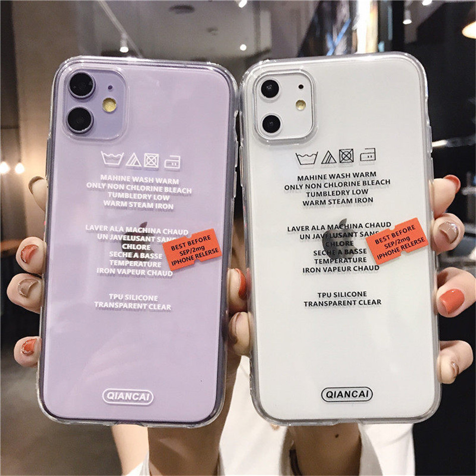 Transparent Label Letters Phone Case For iPhone 11 Pro Max X XS XR Xs Max Soft TPU Clear Cover For iPhone 6 6s 7 8 Plus