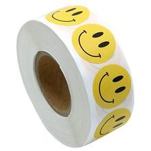 500 шт/рулон стикер смайлик для детей, наградная наклейка в желтый горошек, этикетки с счастливой смайликой, наклейка для учителя, для мальчиков и девочек