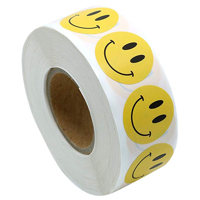 500pcs/roll Smiley Face Sticker For Kids Reward Sticker Yellow Dots Labels Happy Smile Face Sticker Teacher Encourage Boy Girls