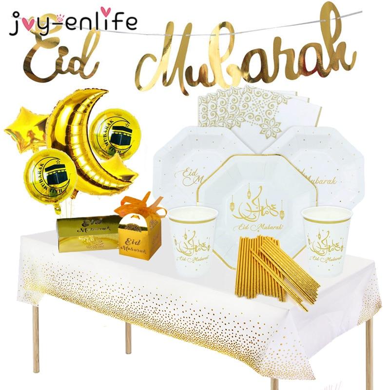 2021 деко украшения на Рамадан Рамазан вечерние баннер ИД MUBARA Бумага пластины чашки исламский мусульманский вечерние ИД Рамадан Мубарак