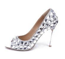цена на Diamonds Pearls Shoes Peep Toe Bridal Sparkle Pearls Rhinestones Wedding Shoes Crystal Diamond Sandals 100mm Heel