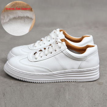 Fashion White Split Leather Women Chunky Sneakers Shoes Lace Up Tenis Feminino Zapatos De Mujer Platform Casual Shoe - discount item  30% OFF Women's Shoes