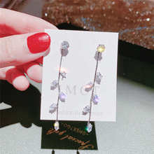 New Crystal Long Dangling Earrings White Resin Leaf Design Drop Earrings Wedding Party Brincos Wholesale Jewelry long water drop gold silver earrings 2019 party color leaf stud earrings wedding engagement delica friendship jewelry pendientes