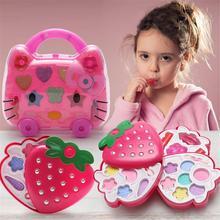 Safe Princess Girls Makeup Box Kids Cosmetics Make up Set Washable Beauty Baby Lipstick Eyeshadow Gift Toy Birthday Pretend Play