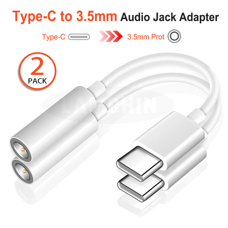 2PCS USB Type-C Male To 3.5mm Jack Female USB Type C To 3.5  Earphone Audio Aux Cable Adapter Converter For Huawei P30 P20 Pro