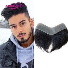 Parrucca per capelli umani anteriore stile V Vloop PU 0.05-0.14cm Toupee sistema di capelli Remy indiani uomo dritto Hairpiece colore naturale 6 pollici 100%