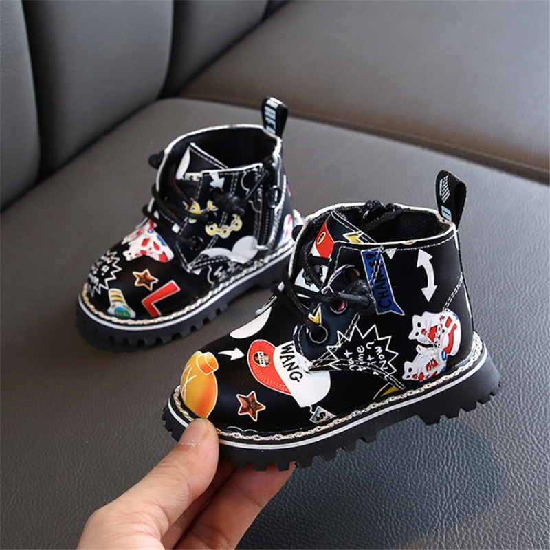 DIMI Baby Boots 2019 Autumn/Winter Boy Girl Infant Toddler Martin Shoes Fashion Printing PU Leather Non-slip Child Boots