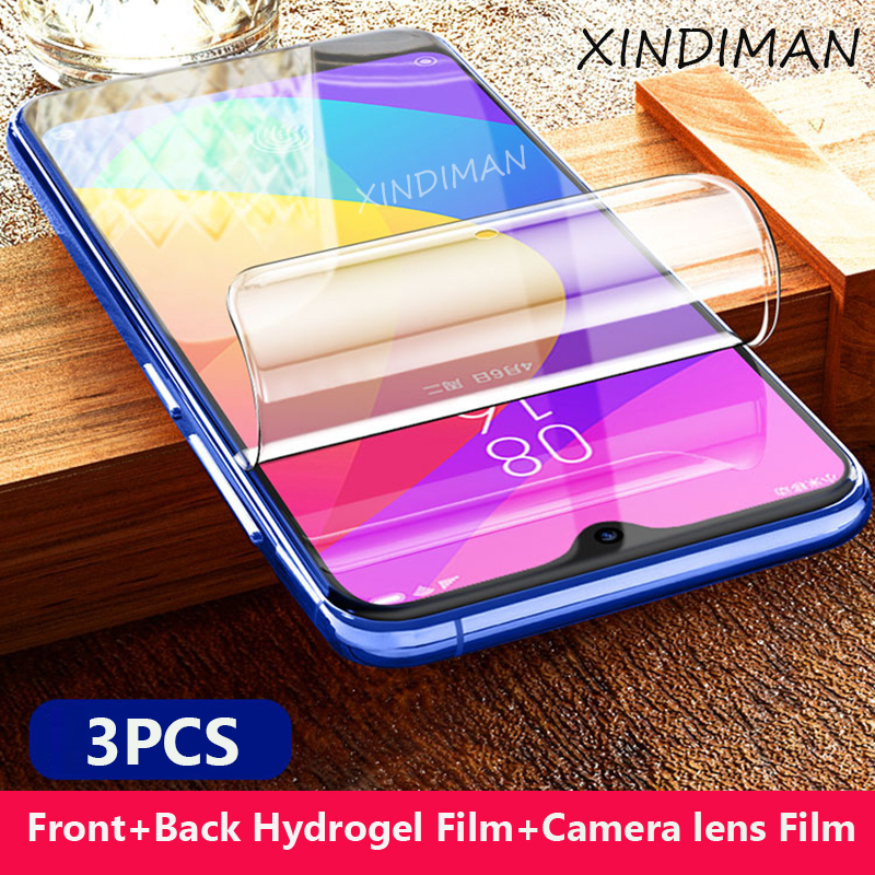 XINDIMAN 3pcs Hydrogel film for xiaomi 9 9se front+back+camera lens CC9 CC9e screen protector soft Mi9