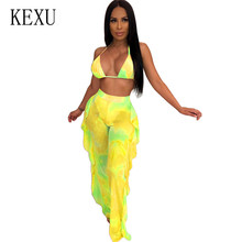 KEXU Rompers See Through Mesh 2 Pieces Sets Ruffles Jumpsuits Sexy Sleeveless Hollow Out Halter Playsuits Femme Summer Overalls