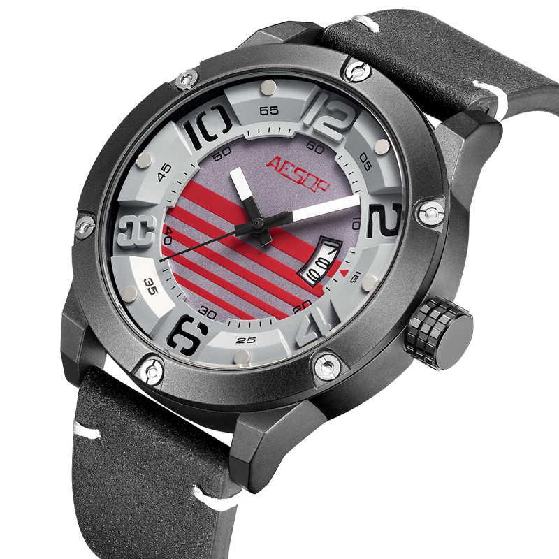 Ezopa data zegarek z paskiem skórzanym unikalne Relogio Masculino zegarek mężczyźni luksusowe męskie zegarki luksusowe wojskowy mężczyzna zegar wodoodporny Saati