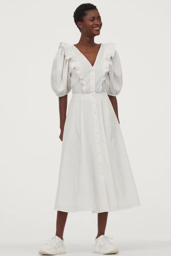 2020 Spring Summer New Ruffled White Zaraing Women Dress Sheining Vadiming Female Vintage Plus Size White Dress XDN9554