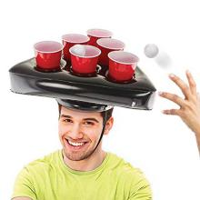 Inflatable Beer Pong Hat Ring Toss Game for Adult Swimming Pool Beach Party Fun