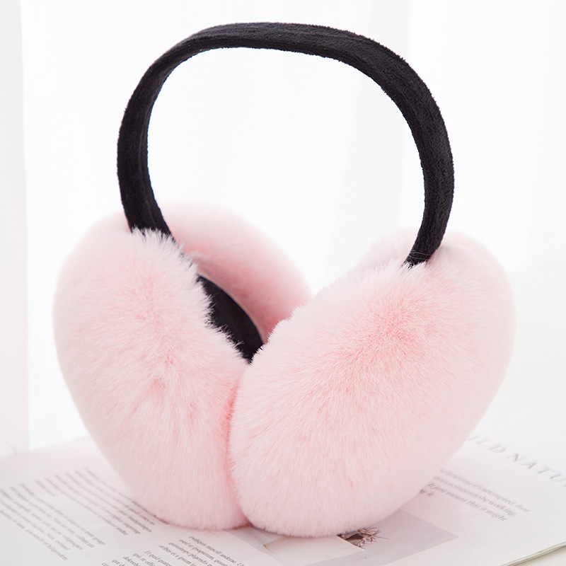 2019 Solid Women Foldable Winter Earmuffs Faux Fur Hamburger Ear Warmer Plush Headgear Fur Headphones Ear Muffs